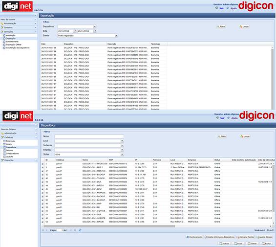 <p>Acompanha o DigiCP o Sistema DigiNET software responsável pela administração da comunicação de rede entre equipamentos e sistema do cliente que permite inclusão das informações de colaboradores, empresas, locais e informações necessárias para funcionamento dos equipamentos. O firmware interno do DigiCP desenvolvido pela Digicon, funciona tanto em rede quanto autonomamente, com descarga de dados via USB e carga de dados para locais sem acesso à rede. Nos temos duas versões do DigiNET um versão free com conexão de dados através de arquivo texto e um versão licenciada para conexão com diversos sistemas através de Web Service.</p>