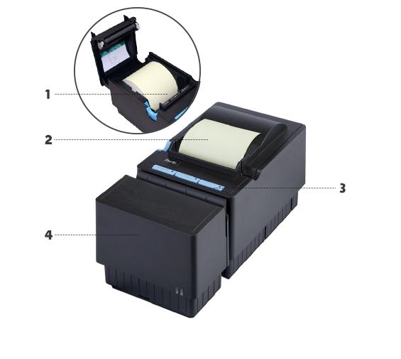 <p>1. Sistema de troca rápida e fácil de bobina (easy load)<br /> 2. Impressora térmica com sistema automático de corte de papel<br /> 3. Teclas de funções<br /> 4. Módulo Autenticador de Documentos com tecnologia jato de tinta na cor preta. Possui autonomia de 6,2 milhões de caracteres e velocidade de até 3 lps.</p> <p>Baixe nosso catálogo para mais informações.</p>